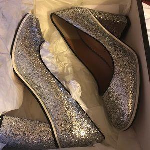 Red Valentino Woman's Silver Glitter Shoe NIB $575